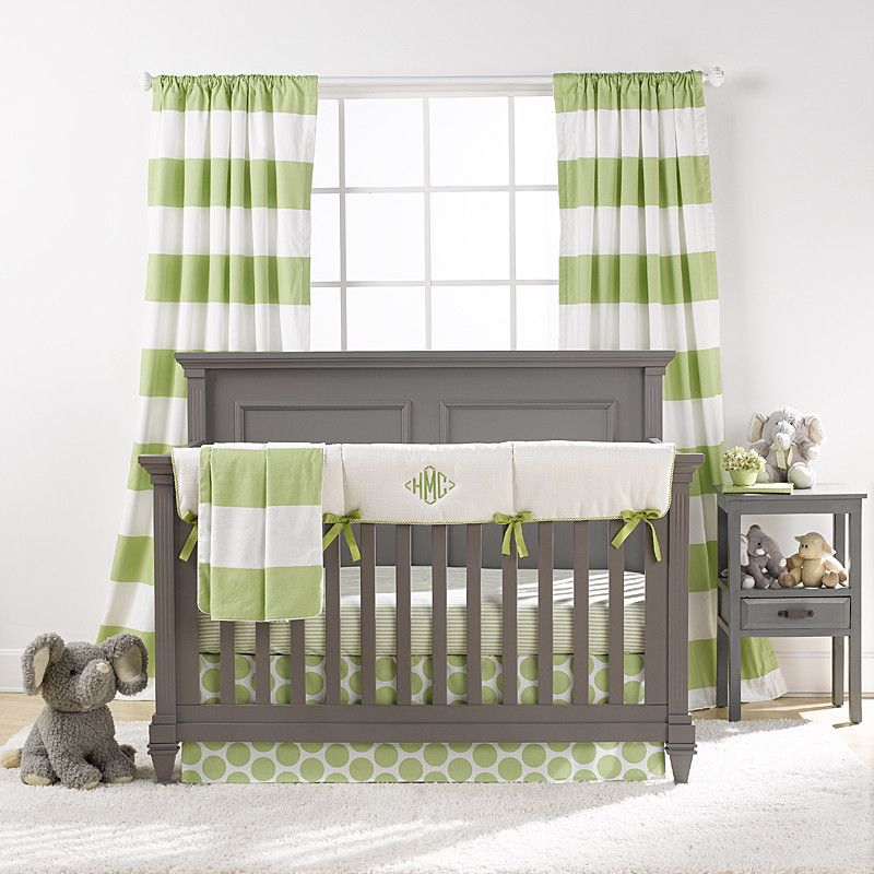 Kiwi And Gray Crib Bedding Bumperless Liz And Roo Green
