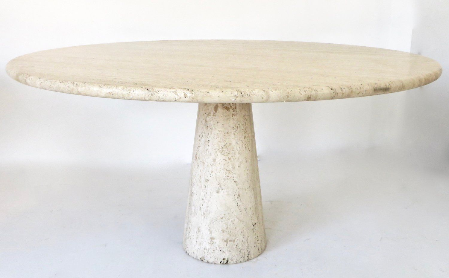 Italian Travertine Round Dining Table In The Style Of Angelo Mangiarotti Pavilion Antiques 20th C Dining Table Round Dining Table Dining Table Marble