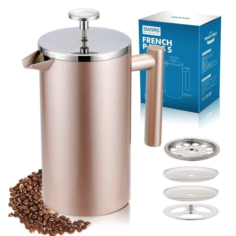 French press coffee maker double wall vacuum insulated