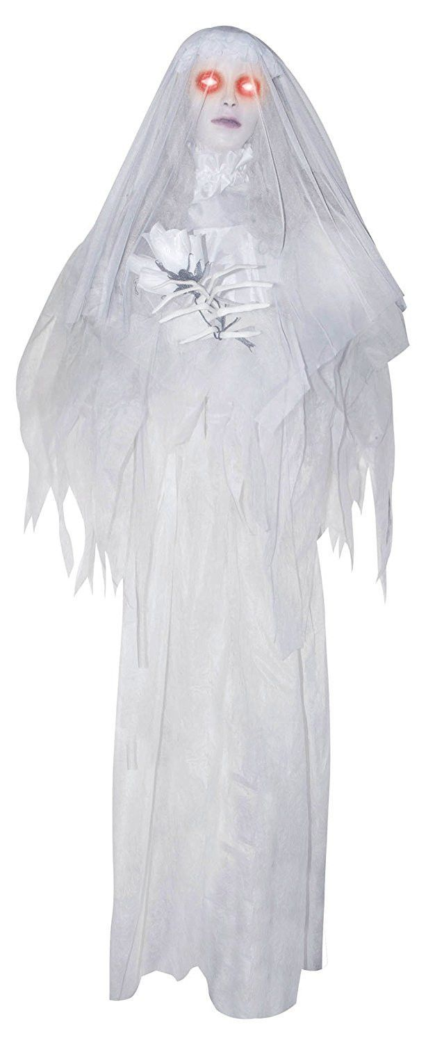 Large Animated Hanging Ghost Bride with Light Up Eyes and Sounds - Ghost Halloween Decorations