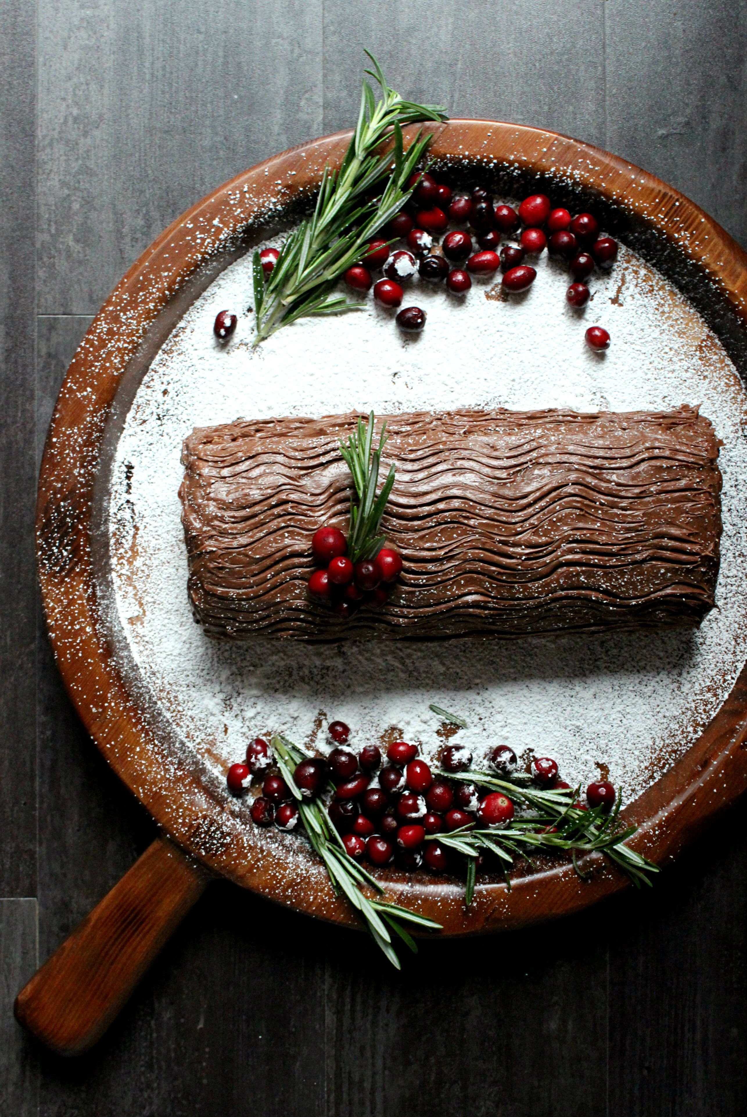 A terrific Christmas dessert for bakers who like a challenge, this Classic Chocolate Yule Log Cake w/ Peanut Butter Mousse is a show-stopper!