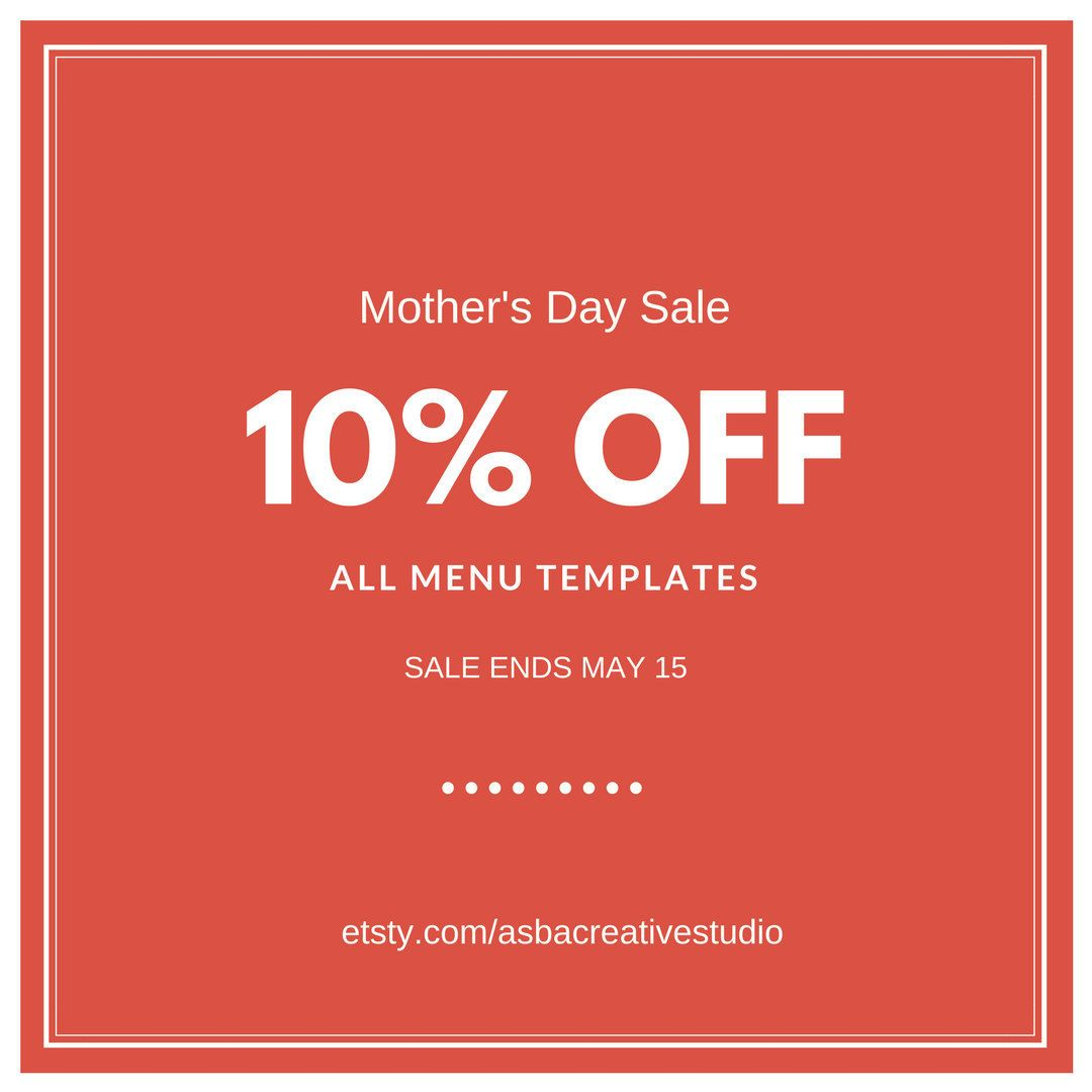 Ms Word For Sale Mother's Day Sale  10% Off All Menu Templatesall Templates Made .