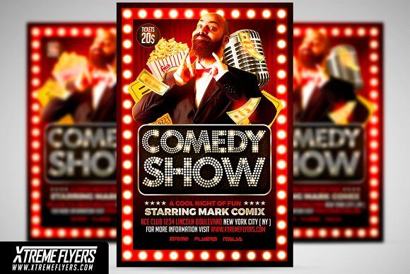 Comedy Show Flyer Template By Xtremeflyers On Creativemarket
