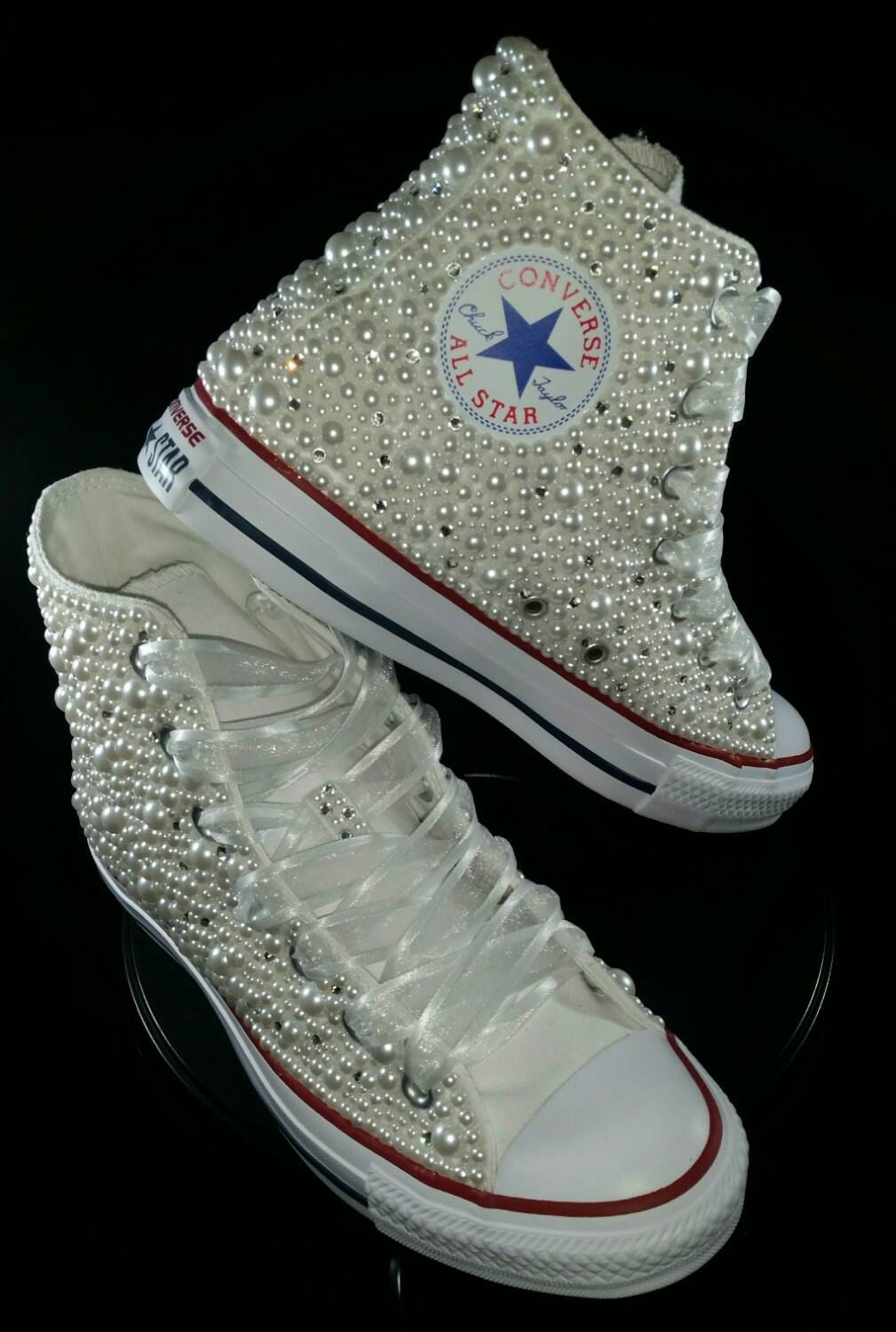 e074814e0ada Bridal Converse- Wedding Converse- Bling   Pearls Custom Converse Sneakers-  Personalized Chuck Taylors- All Star Converse Sneakers- Bride by  DivineUnlimited ...