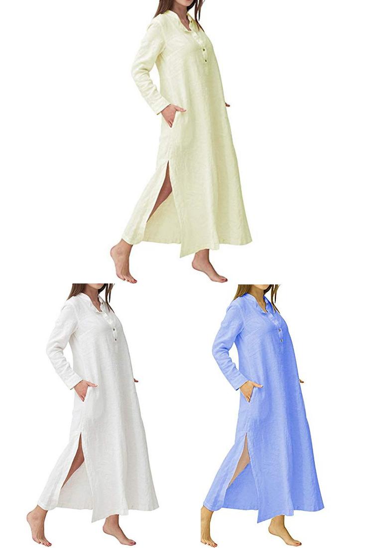 dd36030c6b YOUBENGA Women s Plus Size Long Sleeve Cotton Linen Split Kaftan Maxi Dress  S-3XL