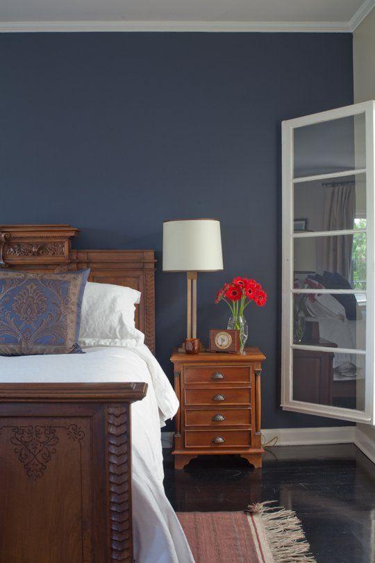 20 Bold U0026 Beautiful Blue Wall Paint Colors Glidden Wrought Iron On The  Guest Bedroom Accent Wall In Erik U0026 Paulu0027s Happy Los Feliz Home.