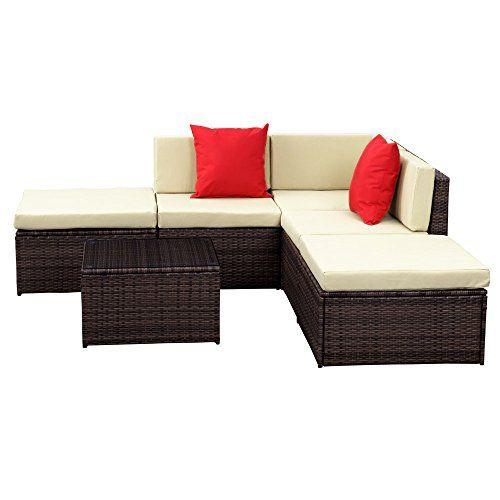 300 Ikayaa Patio Garden Furniture Sofa Set Ottoman Corner Cou Furniture Sofa Set Furniture Garden Patio Furniture