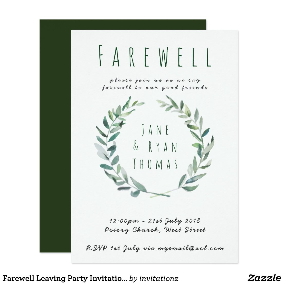 Farewell Leaving Party Invitation Botanical Green   Gift Ideas ...