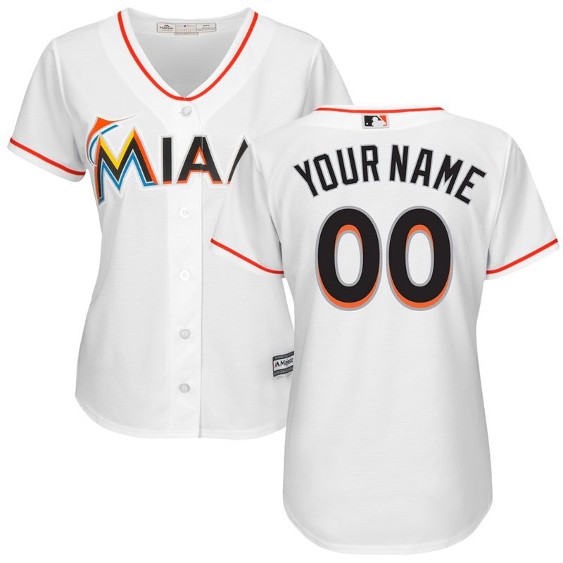 a83bb00529f Miami Marlins Majestic Women s Home Cool Base Custom Jersey - White ...