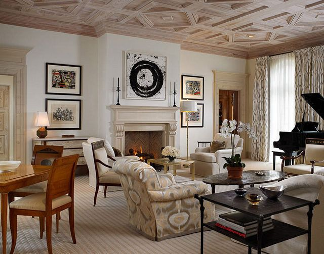 Gorgeous living room THAT CEILING David Kleinberg via Interior