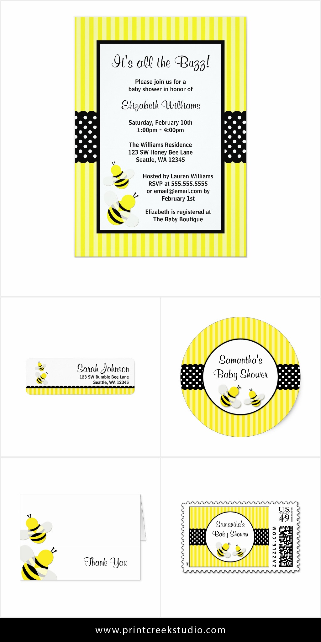 A cute bumble bee baby shower invitation package. Set includes ...