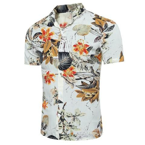 fb7e6b73dde5 Summer Shirt Men 2018 Floral Print Slim Fit Casual Top Short Sleeve  Hawaiian Shirt Beach Leisure Male Shirts Plus Size 3XL