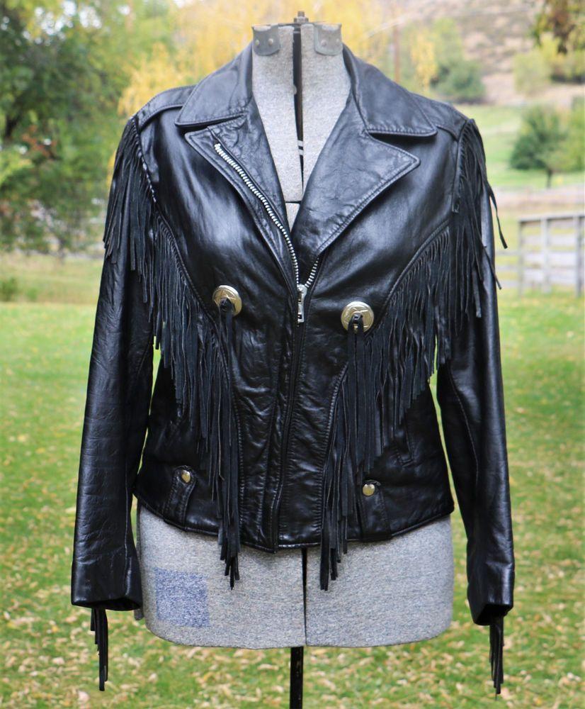 Vtg Black Leather Excelled Womens Fringe Motorcycle Biker Jacket Conchos Size 12 Fashion Clothing Shoes Accessories V Vintage Outfits Vintage Ladies Women [ 1000 x 826 Pixel ]