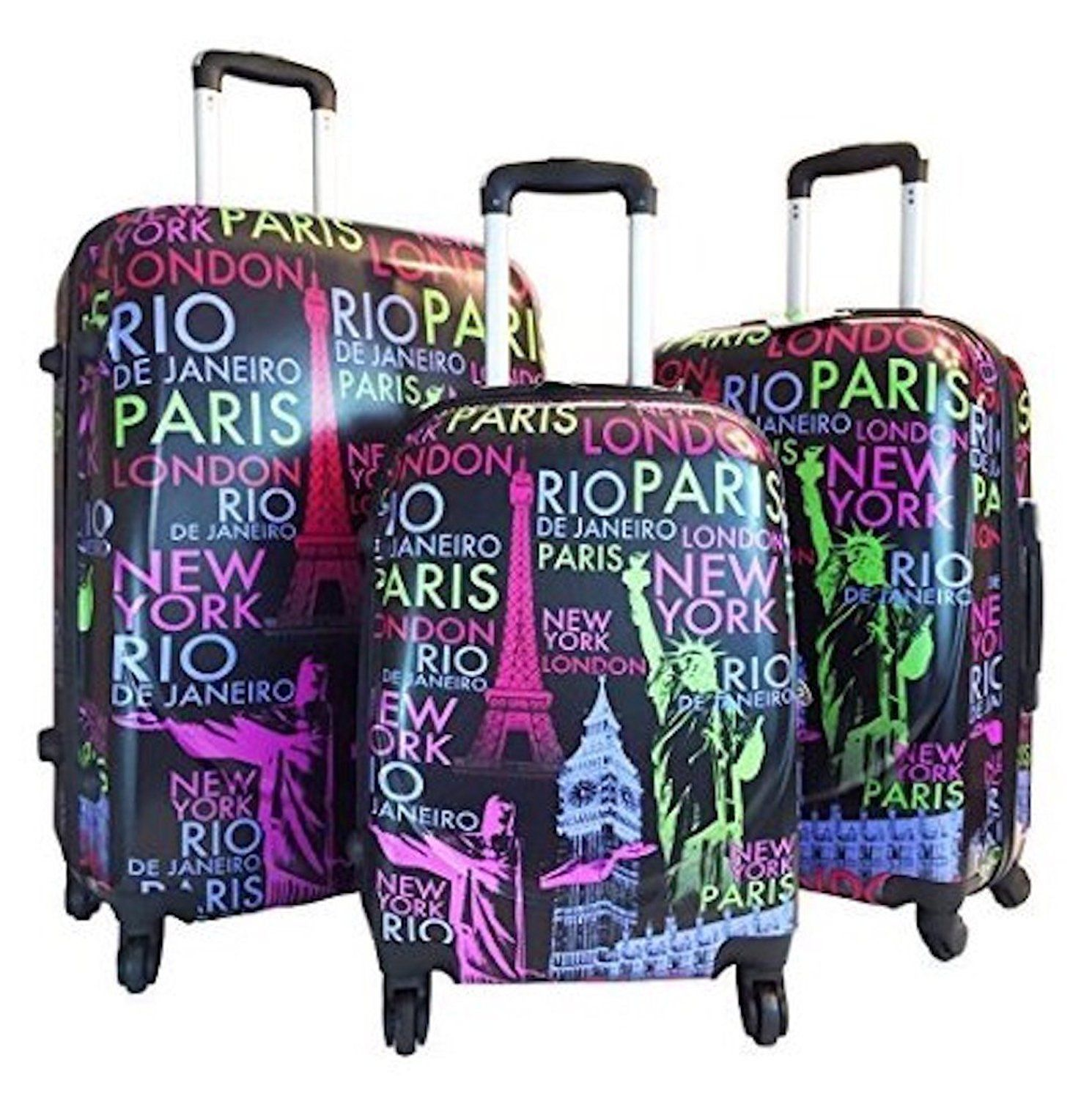 ed5ad3641cf0 3 Piece Hardside Hard Case Printed Travel 4 Wheels Spinner Expandable Luggage  Set - London Paris New York City Print    Visit the image link more details.