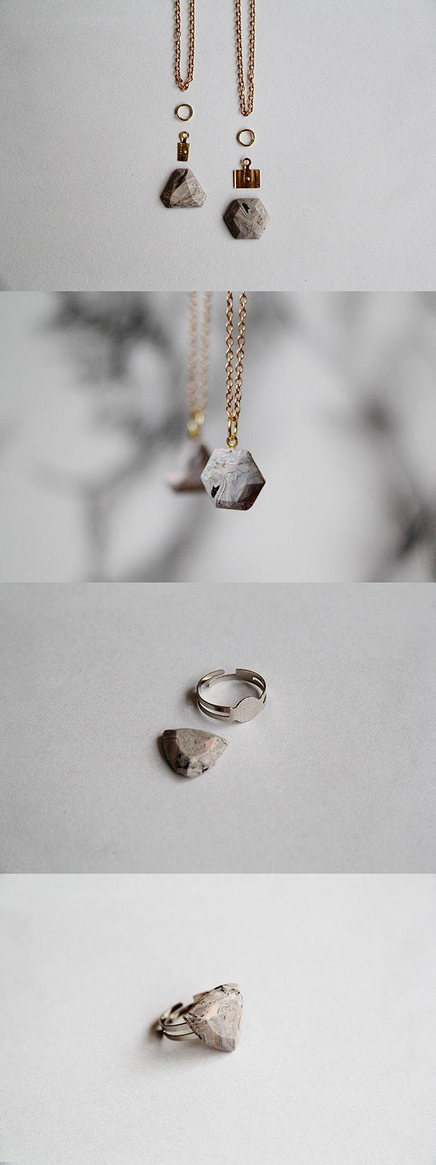 Мраморный камень DIY.  Сделайте эти драгоценные камни из полимерной глины под мрамор от @Franc …