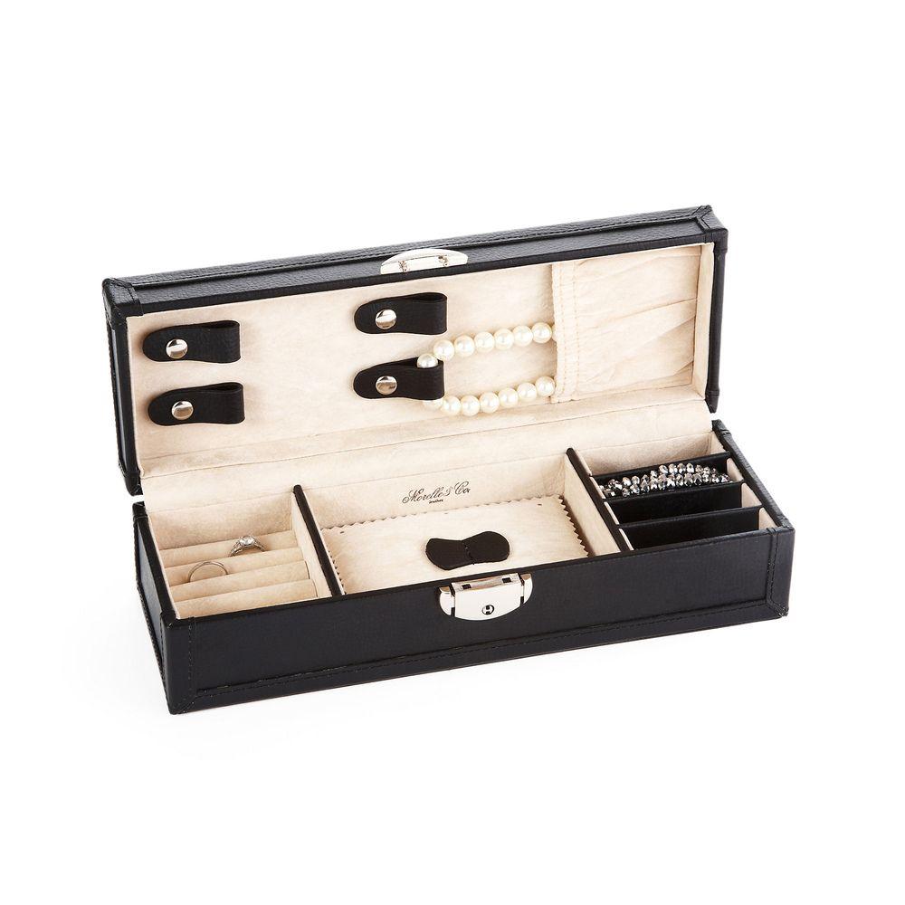 Morelle Black Tiffany Leather Vault Jewelry Box Overstockcom