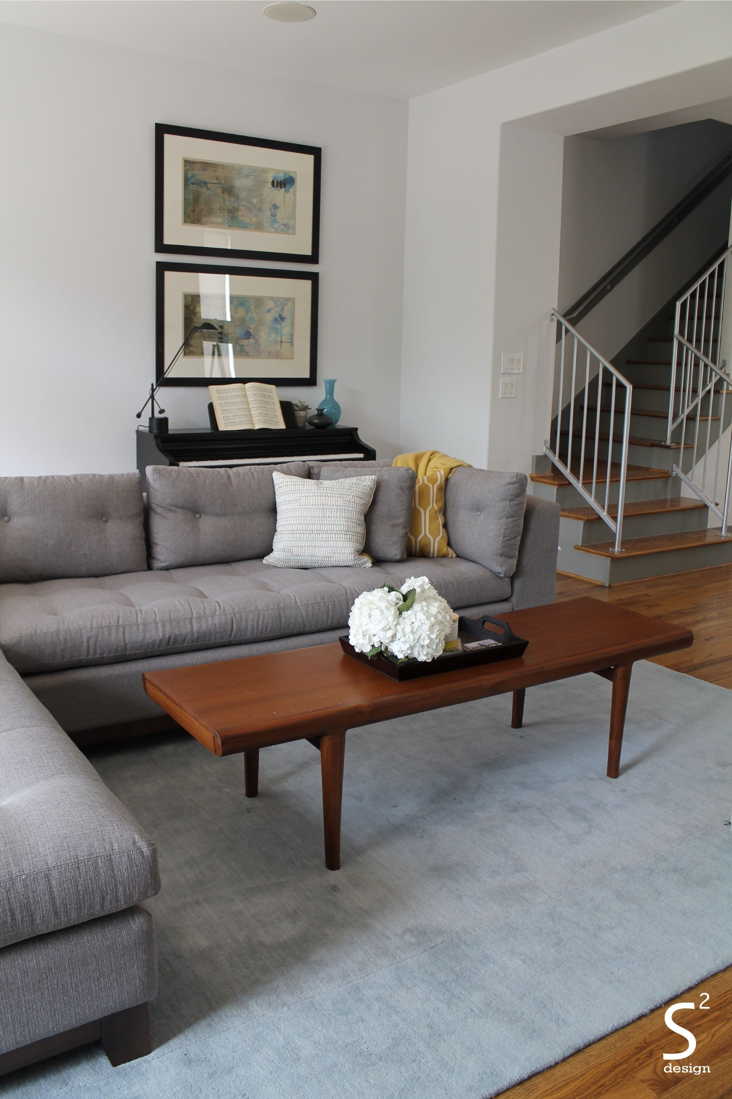 Houston Heights Midcentury Modern Living Room, blue rug, blue and ...