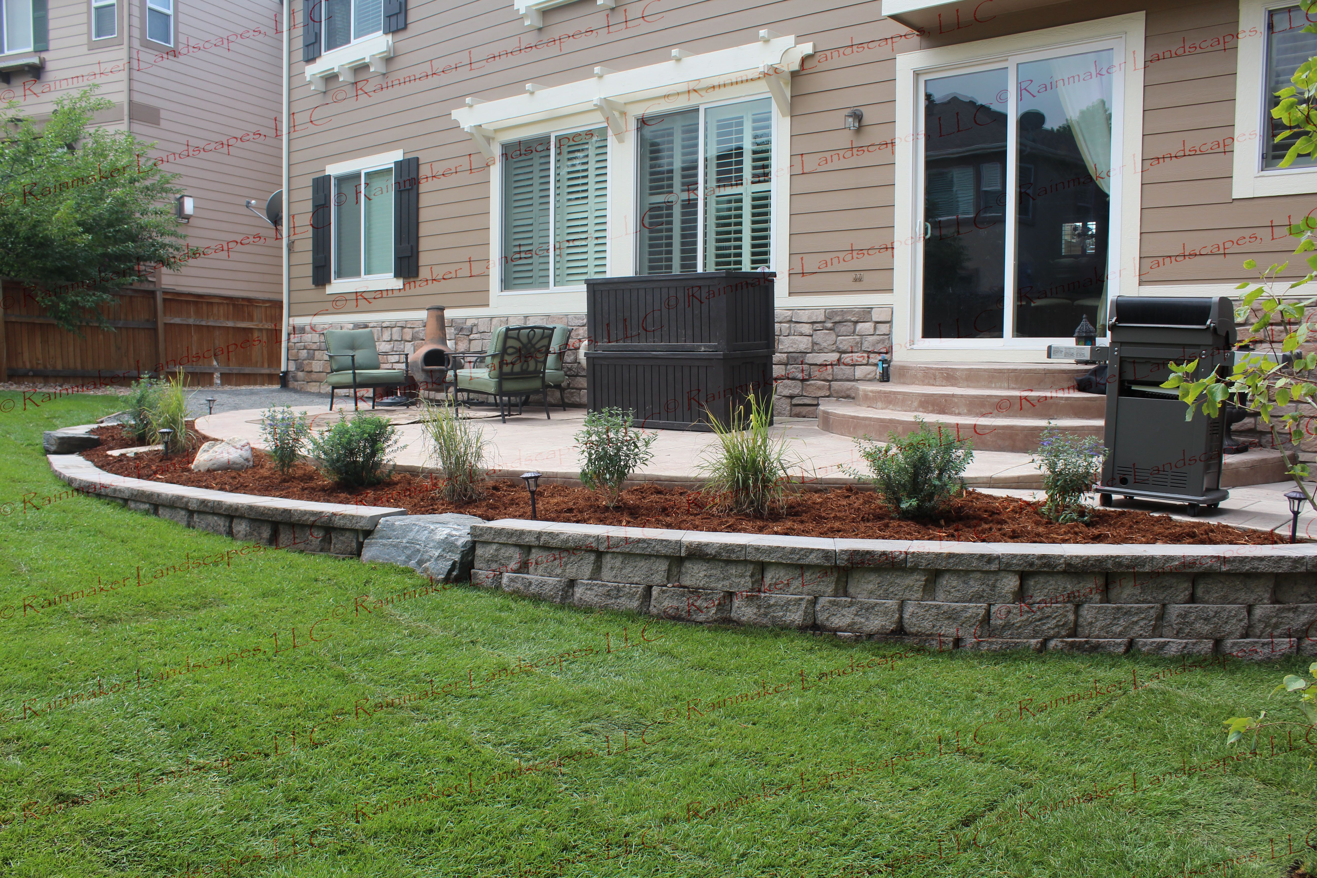 back yard landscape, outdoor living, patio, retaining wall, planter ...