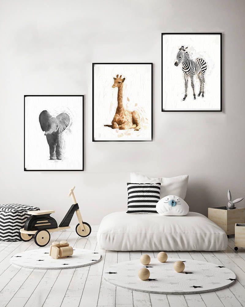Nursery Animal Print Set - 3 animal prints watercolor 11x14 elephant ...