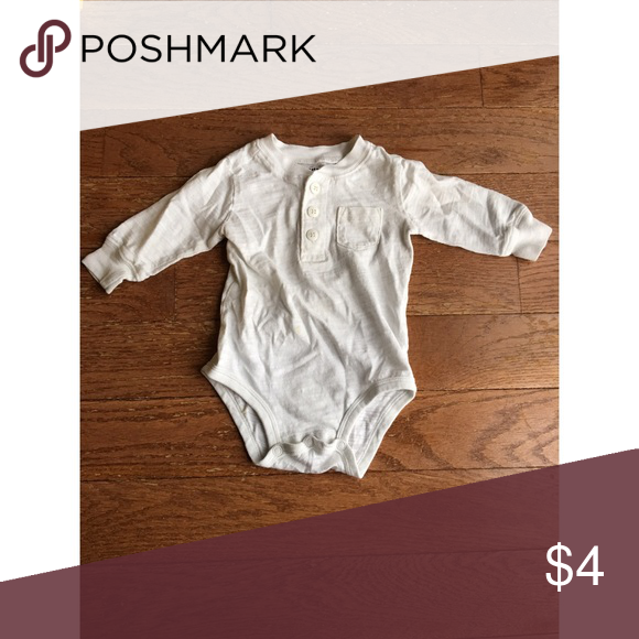 White long sleeve onesie Pre-loved and great as an undershirt for your little guy. Shirts & Tops