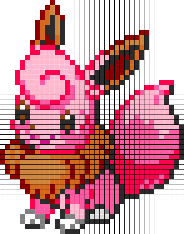 Eevee And Clefairy Fusion Kandi Pattern Pokemon Cross Stitch Pixel Art Pokemon Pokemon Perler Beads