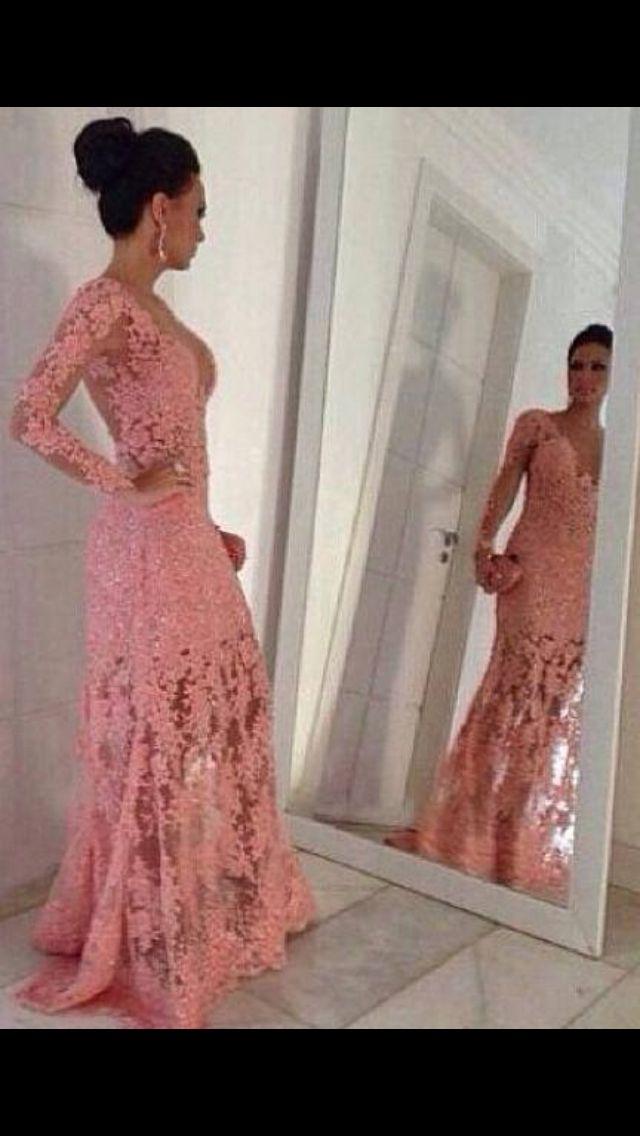 5c9b1e2de Renda rosa Vestido De Festa Longo, Vestido Longo Sereia, Vestido Da Mãe,  Roupa