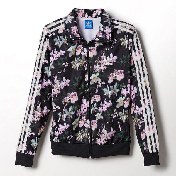 f3ff63324f0 Adidas Orchid Firebird Track Jacket ($56) ❤ liked on Polyvore featuring  outerwear, jackets, tops, jackets and vest, sweaters, print jacket, full  zip up ...