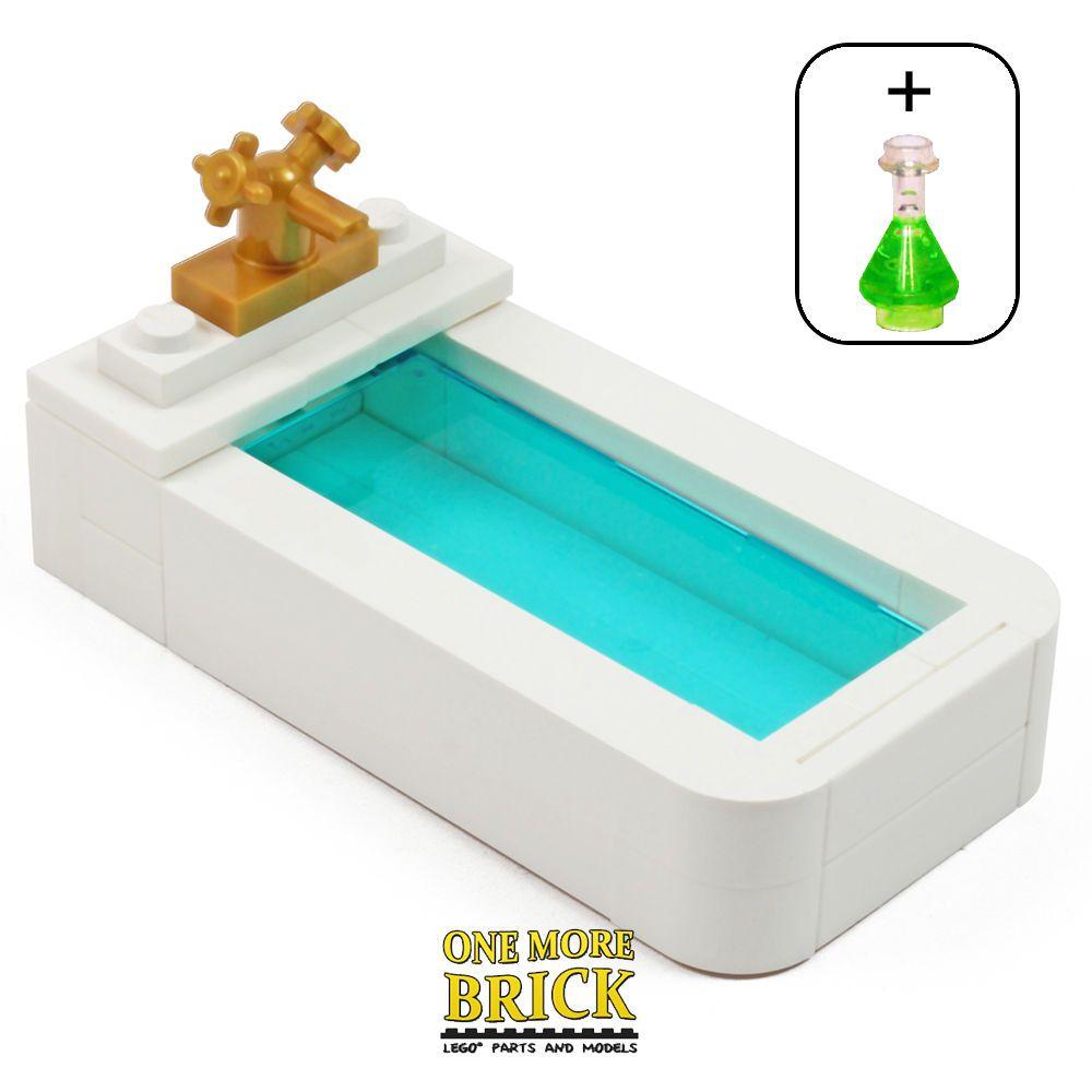 LEGO Bath - Bathroom Bathtub + flask - Minifig furniture for toilet ...