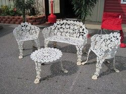 Bench White Cast Iron Flowers Grapevine Legs Outdoor Furniture