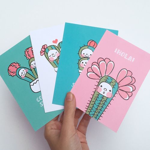 Kawaii cactus cards