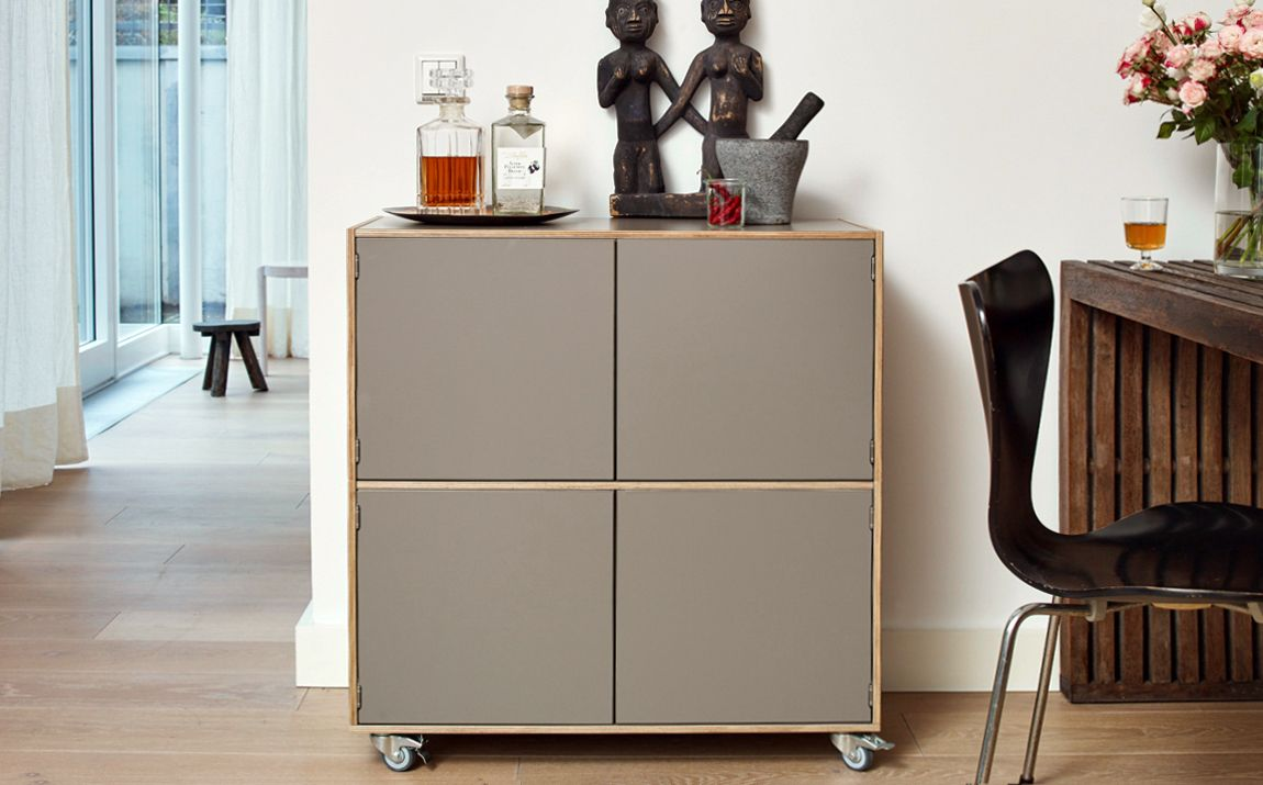 rollcontainer berlin in der farbe schlamm als modernes sideboard f r getr nke cocktailgl ser. Black Bedroom Furniture Sets. Home Design Ideas