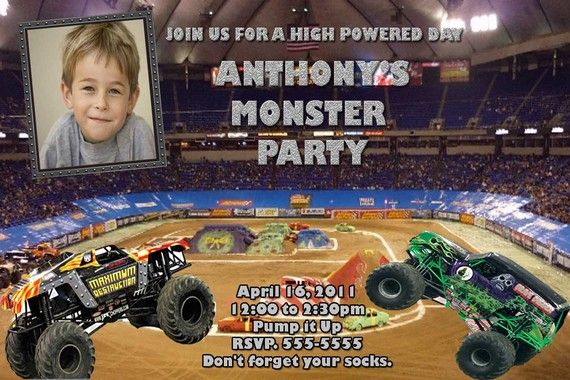 Monster Truck Invitation With Max D And Grave Digger 2 Of Landon S Favs Monster Trucks Monster Truck Party Photo Birthday Invitations