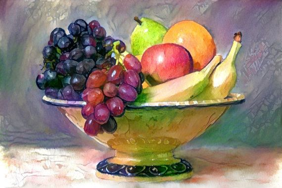Fruit Bowl Watercolor Still Life by StyleMyPix on Etsy