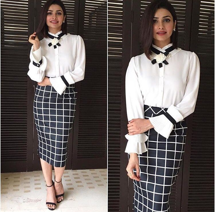 Madison onpeddar # Prachi Desai # classic meeting look outfit # Indian official wear