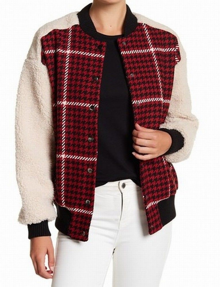 eb5dbc5f03ffa4 Ro & De NEW Red Women's Size Large L Houndstooth Print Bomber Jacket $90  #563 #fashion #clothing #shoes #accessories #womensclothing  #coatsjacketsvests ...