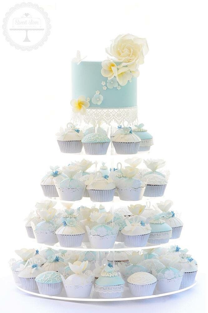 Coastal romance cupcake tower for a Valentines Day wedding