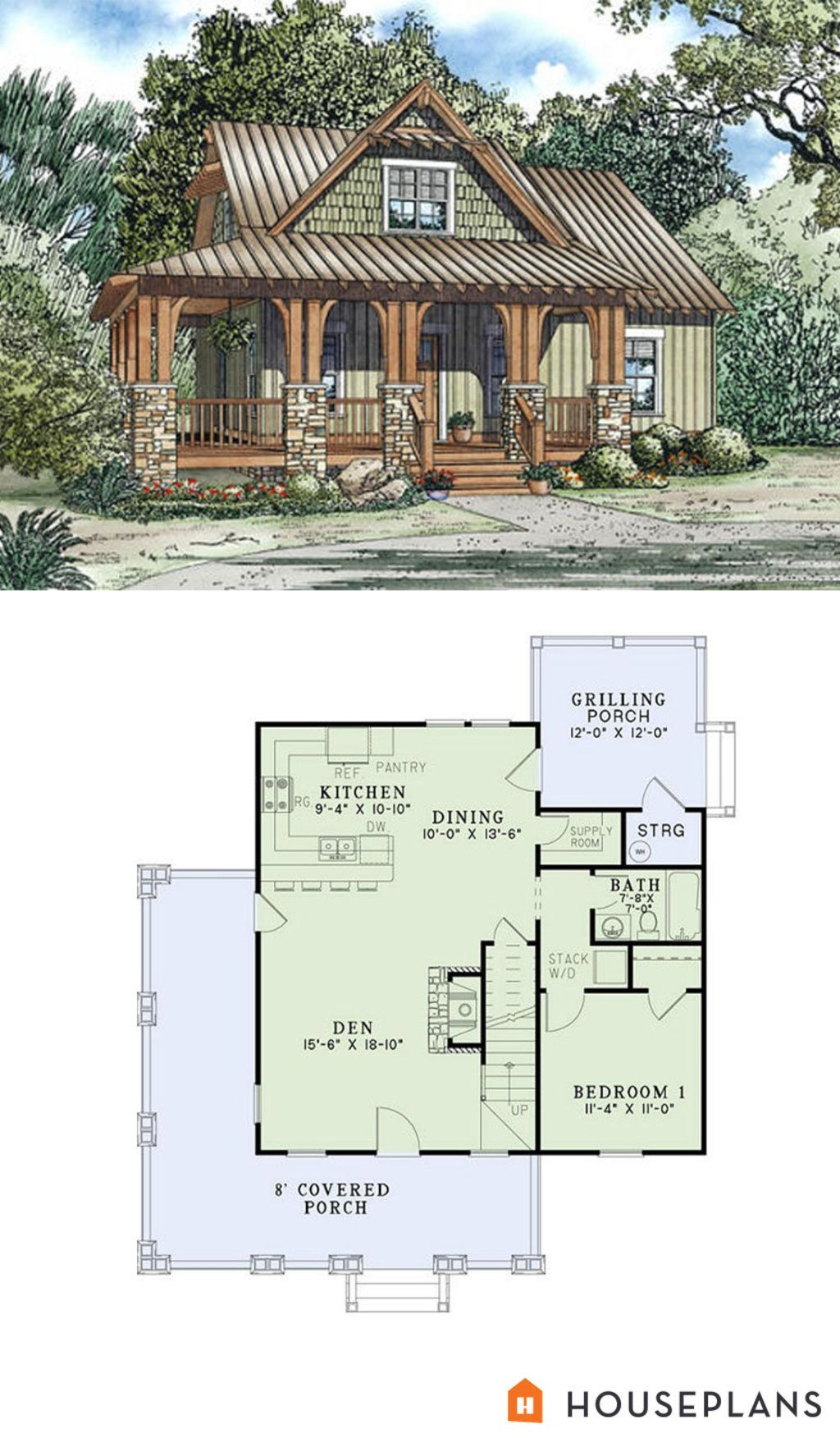 Craftsman cottage plan 1300sft 3br 2 ba plan 17 2450 i for Cottage floor plan