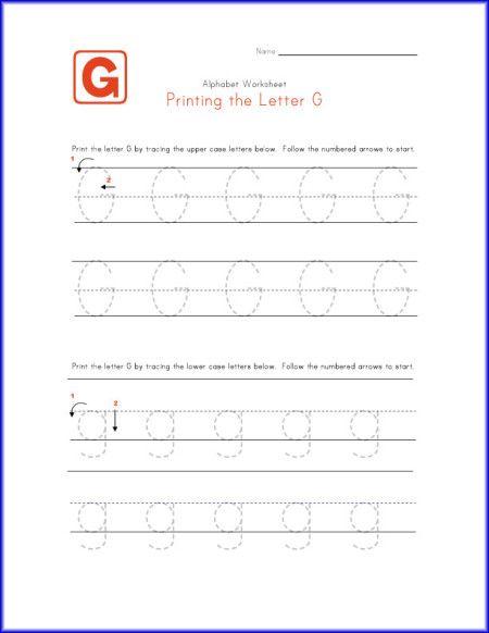 Printing The Letter G Worksheet For Kindergarten | Educational ...