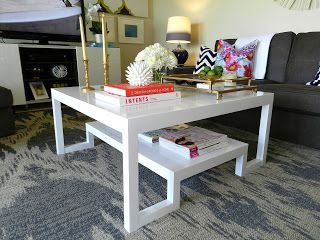 diy lacquer furniture. DIY Coffee Table - CohesiveRandomness White Lacquer Table; Parsons Style Two Tier Diy Furniture