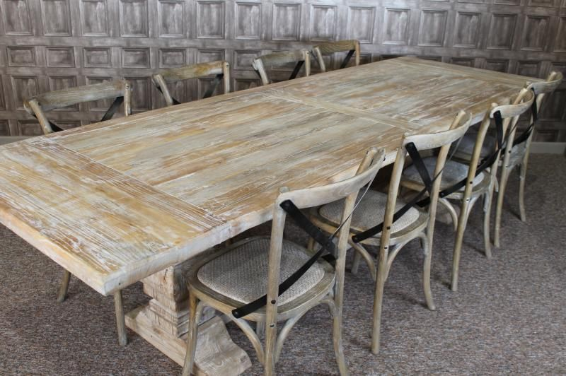 Large 3m Distressed Limed Elm Dining Table White Washed Kitchen