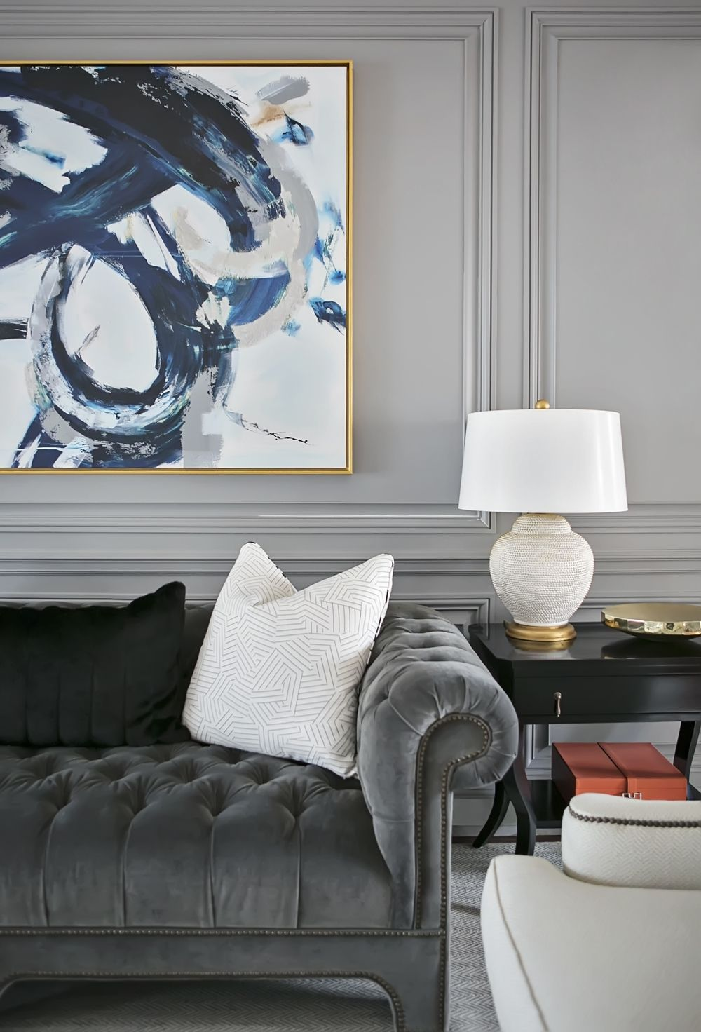 Classic grey tufted sofa | Redo Home + Design | LIVING ROOMS ...