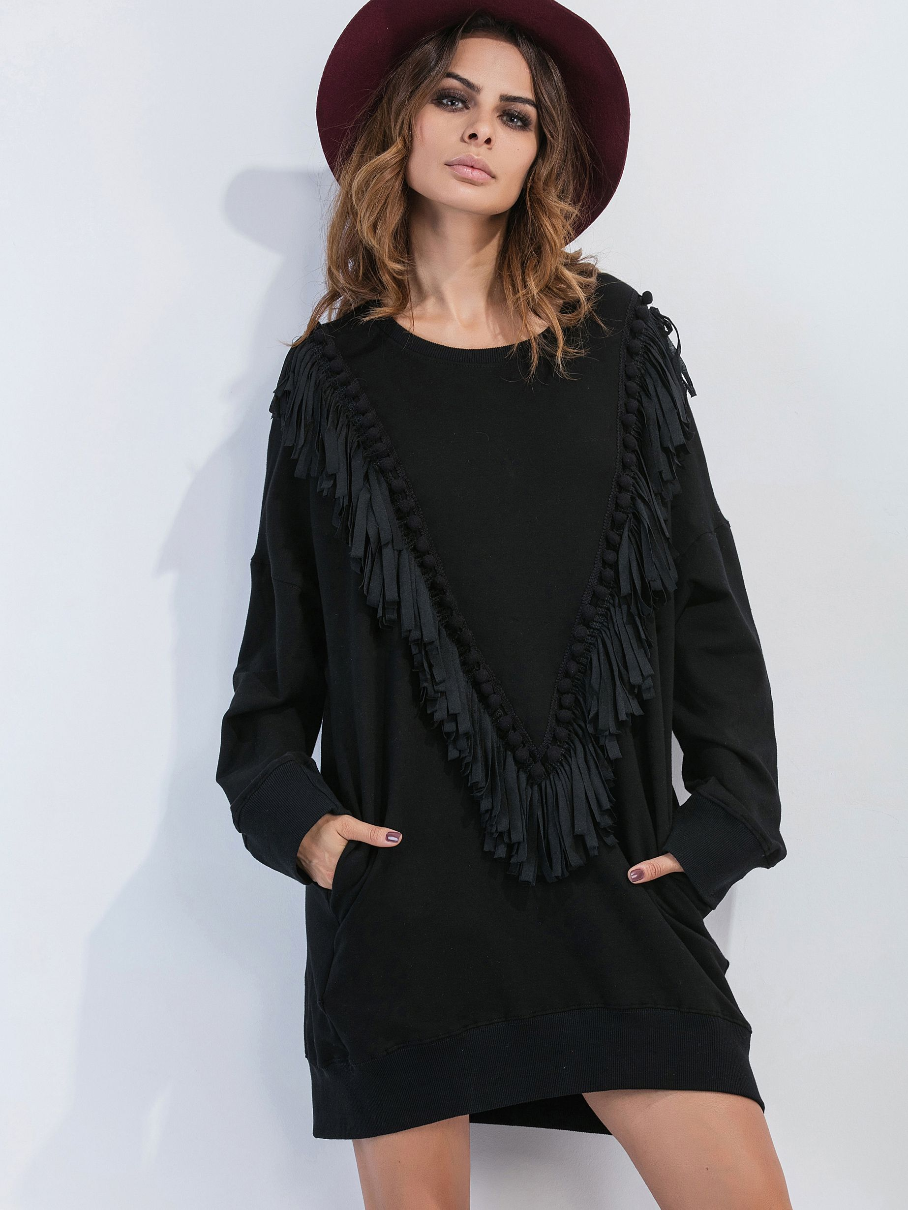 Vestido negro hombro caido