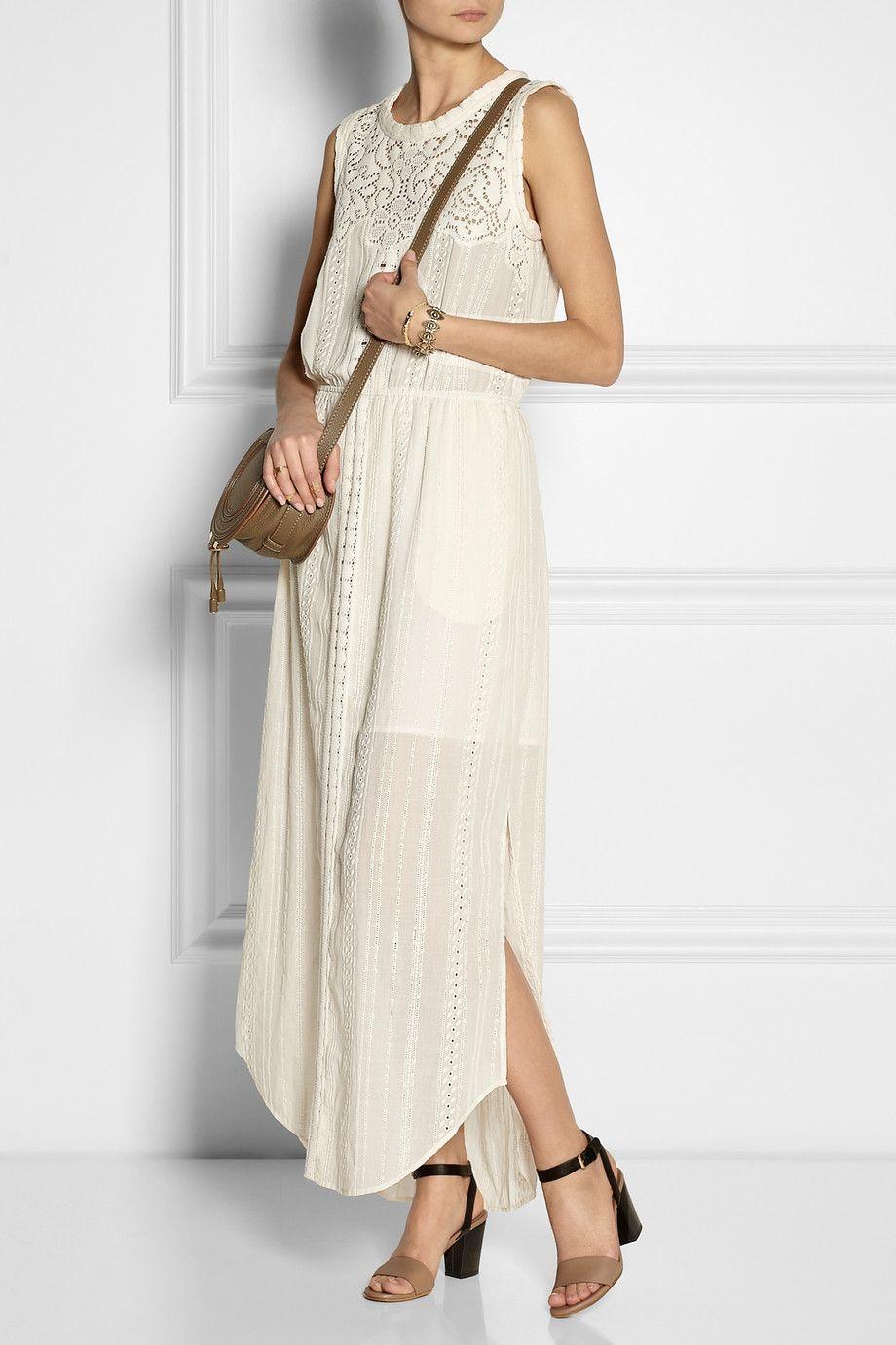 Wedding dresses for short women  SEA  Lacepaneled broderie anglaise cotton maxi dress  NETA