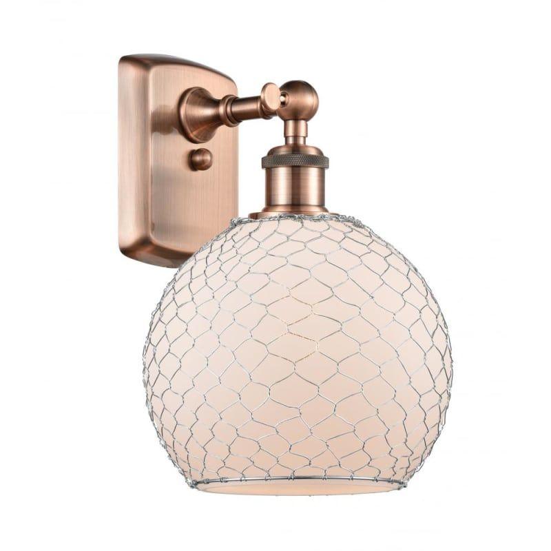 "Photo of Innovations lighting 516-1W farmhouse chicken wire farmhouse chicken wire 13 ""Ta Antique copper / white / nickel interior lighting bathroom fixtures"