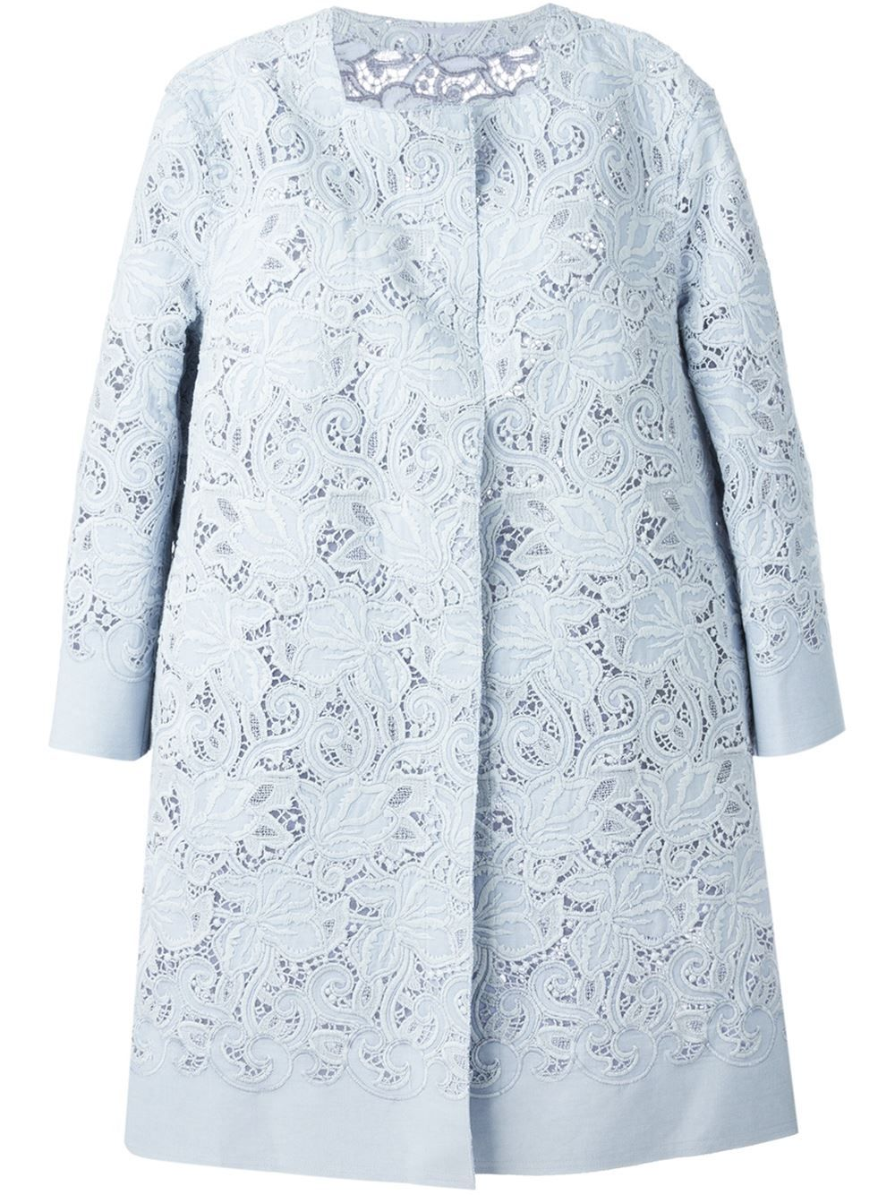 Blue lace overcoat with white embroidery Ermanno Scervino SkkE0i