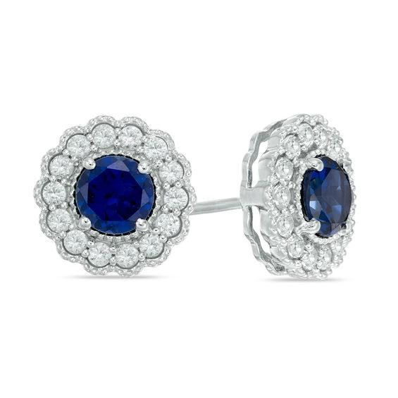 Zales 8.0mm Lab-Created Blue Sapphire Stud Earrings in 10K White Gold RNRRt