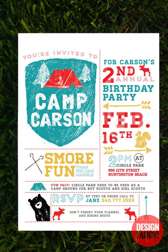 Camping birthday invitation birthday party ideas pinterest camping birthday invitation stopboris Gallery