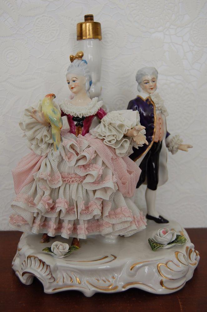 Antique Victorian German Dresden Lace Porcelain Couple