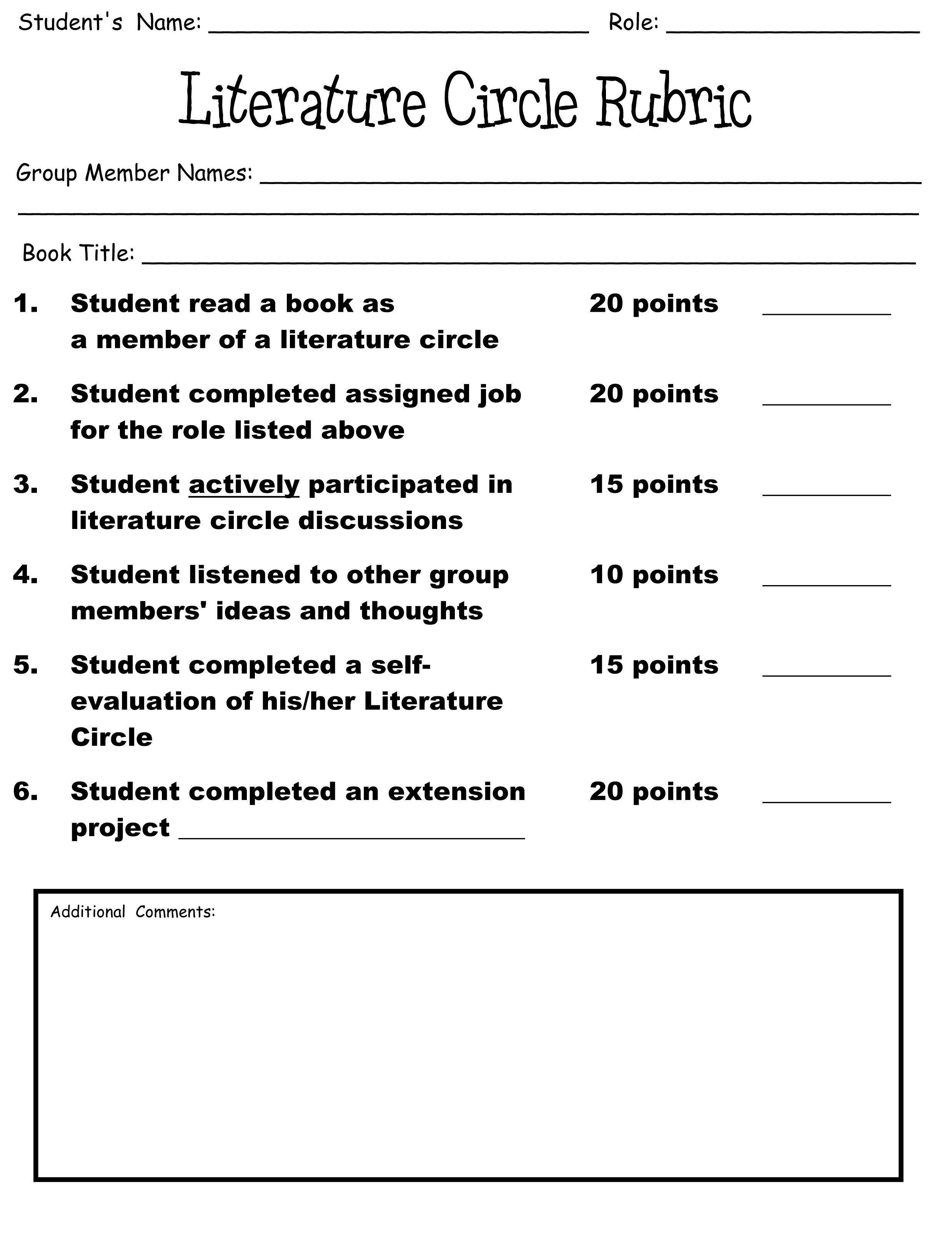 Free Worksheet Literature Circle Worksheets mini literature circle role sheets circles and rubric for circles