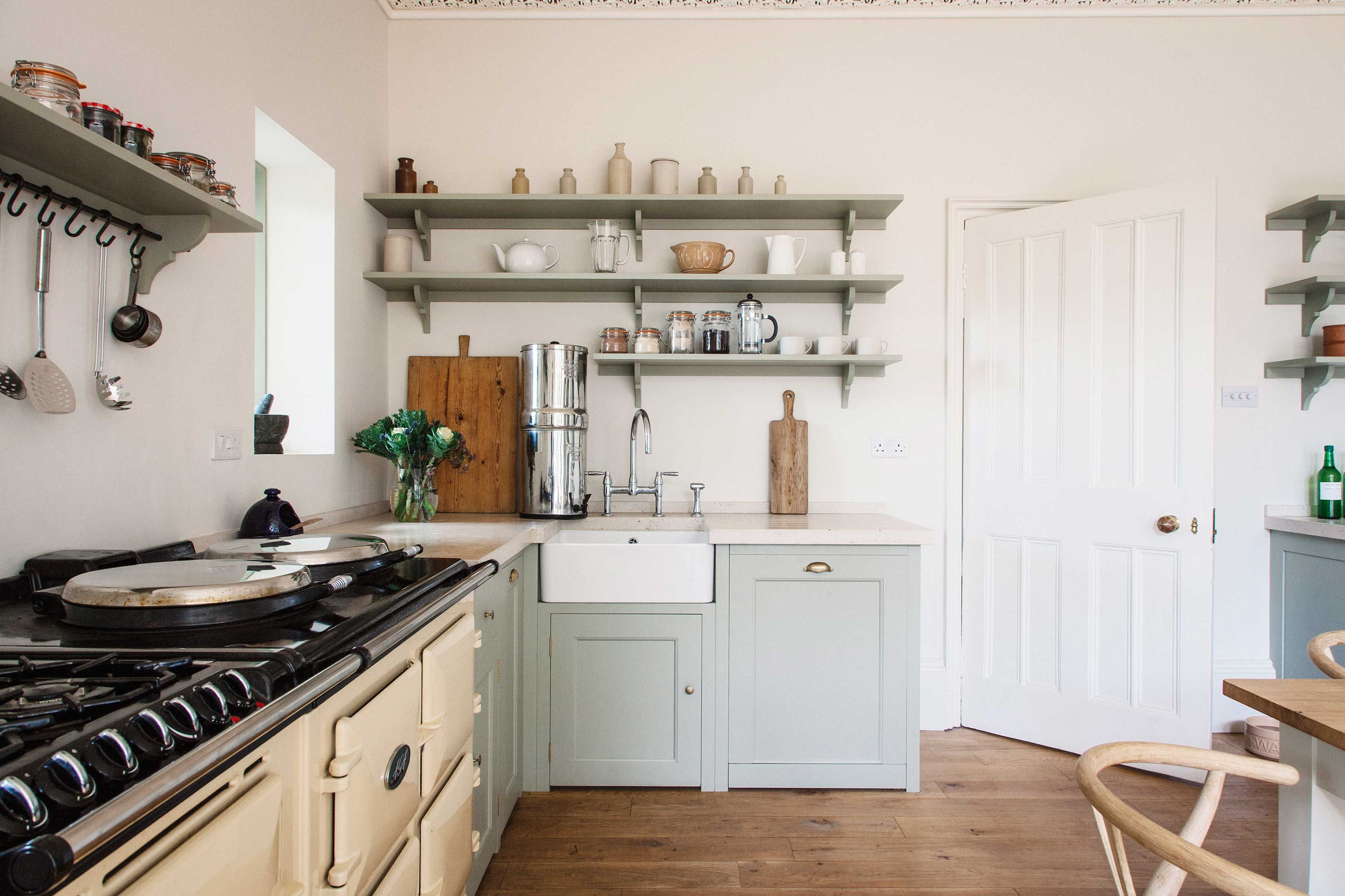 Light blue wooden kitchen units with cream Aga oven | The NEXT ...